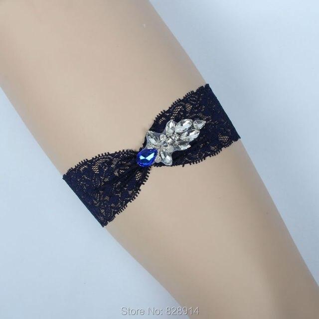 New Arrival Original Design Navy Blue Wedding Lace Garter Sexy Fashion Women  Bride Leg Garter Belt Handmade HY071 b7fadf75fbaa