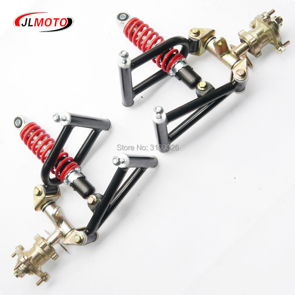 1Set Suspension Swing Arm Upper/Lower A Arm Steering Knuckle Spindle with Brake Wheel Hub Fit For Buggy electric ATV Bike Parts former small four wheel atv tuning parts wishbone suspension knuckle steering column lever kit claw