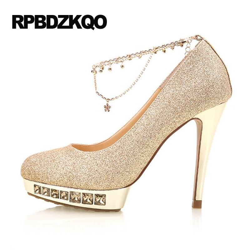 Wedding Ankle Strap High Heels Gold Shoes Women With Platform Pumps Super 2017 Glitter Thin Round Toe Red Bling Slip On Pumps phyanic bling glitter high heels 2017 silver wedding shoes woman summer platform women sandals sexy casual pumps phy4901