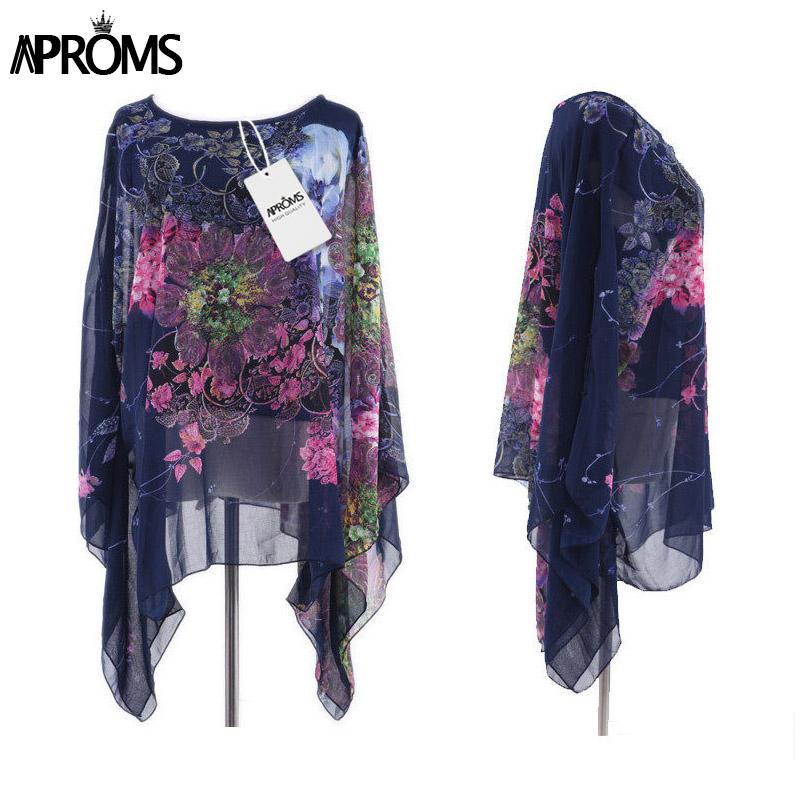 HTB1ZhH6QpXXXXXfXFXXq6xXFXXXD - Boho Batwing Sleeve Chiffon Blouse Women Casual Floral Kimono Shirts