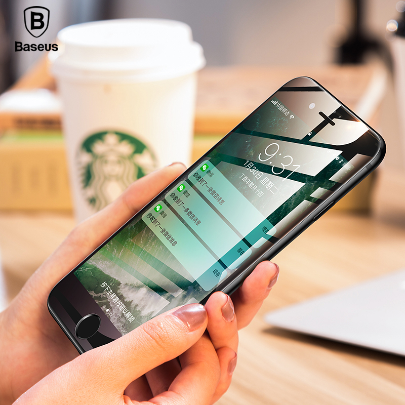 <font><b>Baseus</b></font> 0.23MM Tempered Glass For <font><b>iPhone</b></font> 8 7 6 <font><b>6s</b></font> Plus Screen Protector Soft 3D Curved Full Cover Protective Glass Front Film image