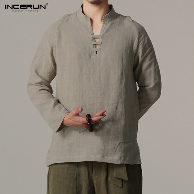 7a6750f48 INCERUN Male Retro Cotton Shirts Spring Summer Chinese style Men Shirt V  Neck Long Sleeve Casual Linen Slim Fit Shirt Clothing-in Casual Shirts from  Men's ...