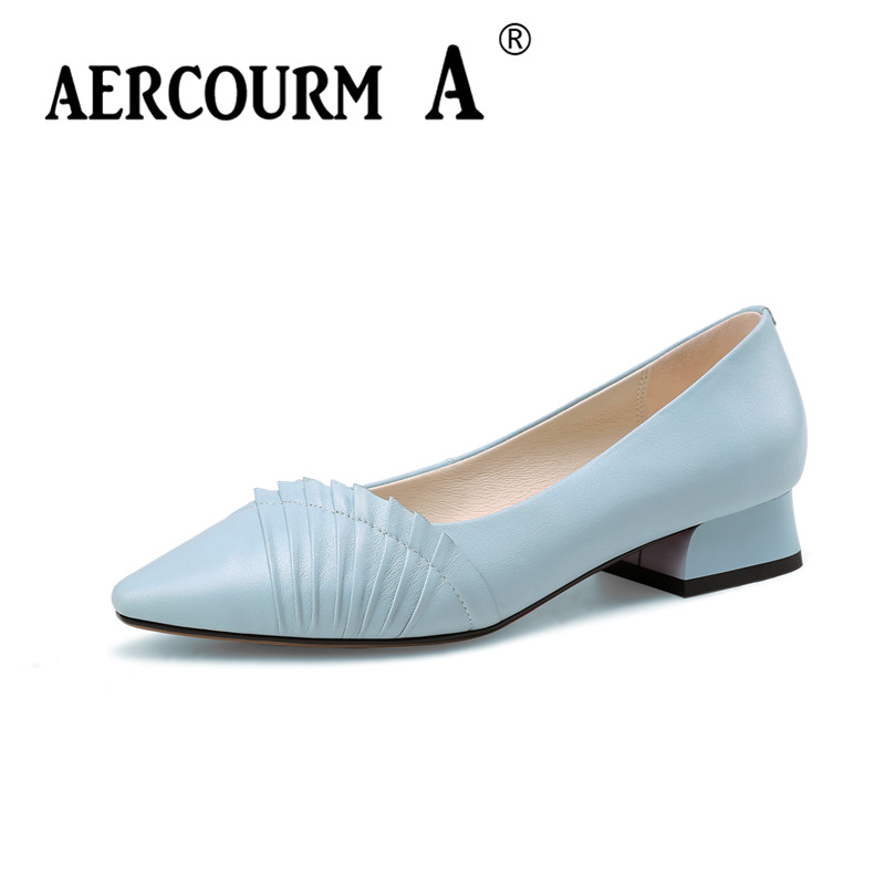 Aercourm A 2018 Woman Genuine Leather Shoes Lady Pumps Solid Color Shoes Square Head Green Black Leisure Low Heels Shoes HYT879 aercourm a women black pumps 2018 spring high heels shoes woman shoes genuine leather square head rivet pointed shoes dtn8 1