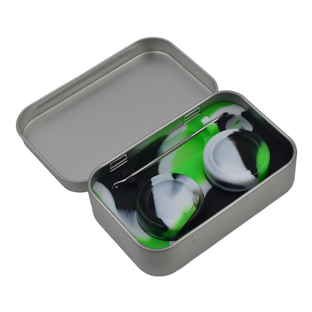 Tin Containers kit - 2 in 1 station Silicone Dab wax Container + Carvers Tool+2pcs Bho 5ml Dab wax jar For slick concentrate Oil