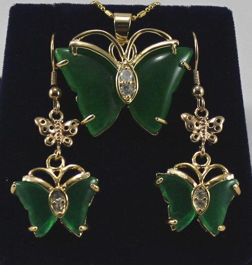 favourite 18KGP + jades Butterfly earrings &pendant