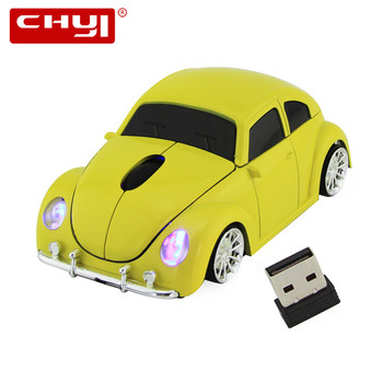 Wireless Computer Mouse Gamer Cool Beetle Car Shape Mice 1600DPI Optical Gaming Mause With USB Receiver