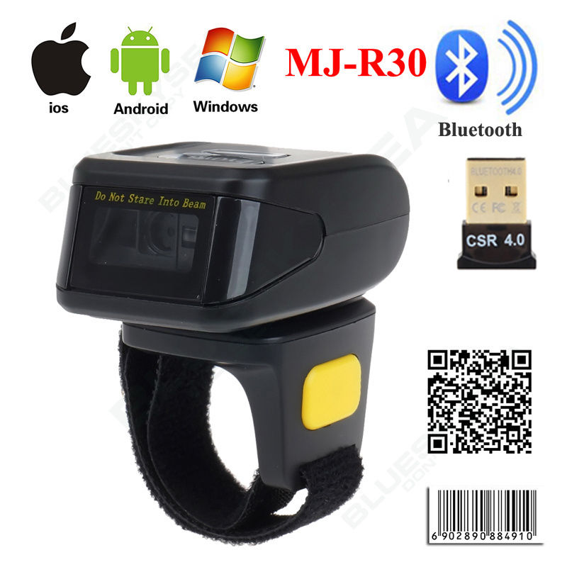MJ-R30D Mini Bluetooth Portable Ring 2D Scanner Barcode Reader For IOS Android Windows caribe pl 40l ip65 rugged industrial mobile bluetooth pda 1d barcode scanner android 5 1