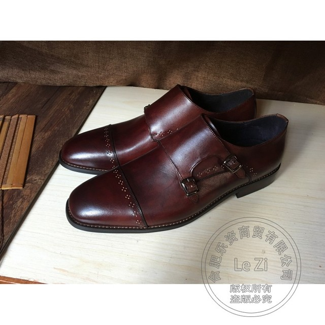 Customized Plain Brogue Wedding Shoes Men Advanced Low Top Dress Shoes Full Grain Leather Soft Leather Monk Strap Play Carved