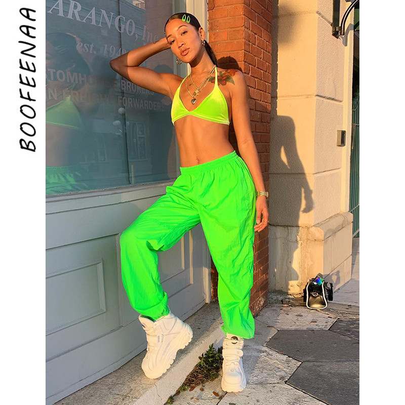 BOOFEENAA Neon Green High Waist Joggers Harem Pants Women Clothes 2019 Streetwear Fashion Sweatpants Casual Trousers C94-AC17
