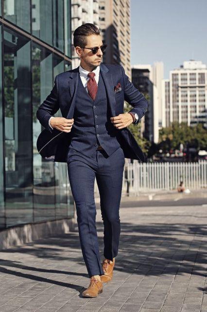 5f669110addf 2017 Latest Coat Pant Designs Navy Blue Men Suit Jacket Slim Fit Skinny 3 Piece  Blazer Groom Suits Custom Prom Tuxedo Masculino
