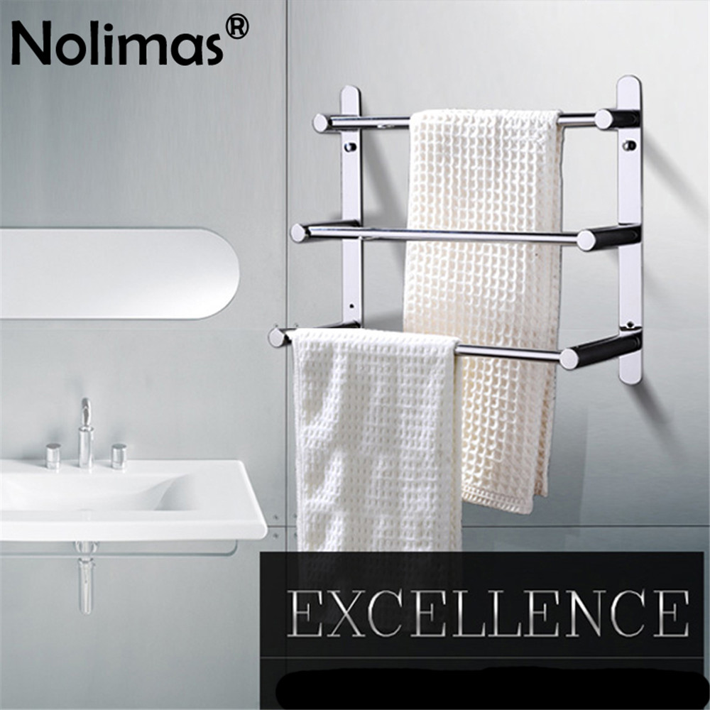 60cm Aluminum Double 5Bar Towel Rail Rack Holder Hanger Bathroom Wall Mounted BT