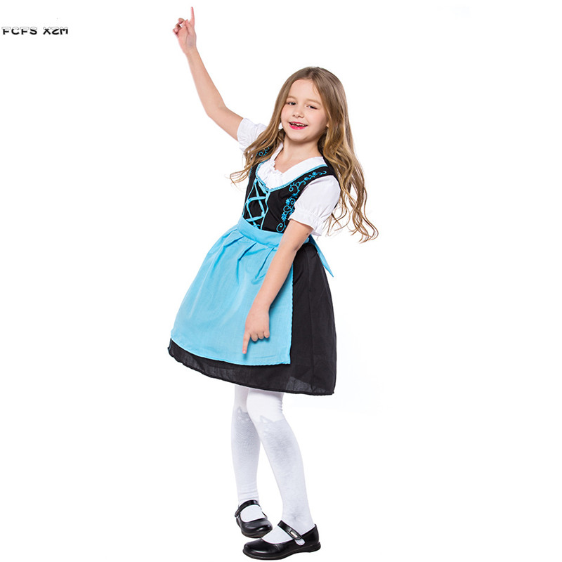 Kids Girls Halloween Alice Costume for Children's day German Oktoberfest Maid Cosplay Carnival Purim Festival parade party dress