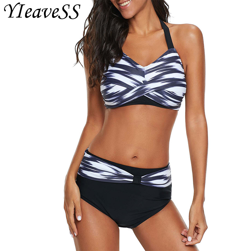 2019 Women's Sexy Backless Striped Twist Front Crossed Tankini Halter Swimsuit Retro Bathing Suits Plus Size Bathing Suit 5XL