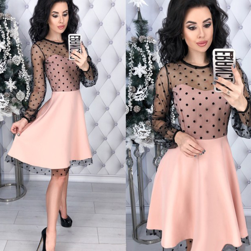 Women Vintage Lace Patchwork A-line Party Dress Long Sleeve O Neck Solid Mini Dress 2019 Spring New Fashion Chic Women Dress