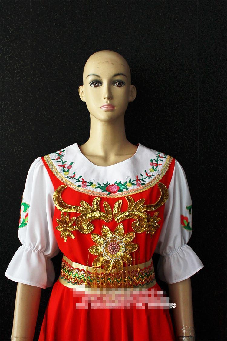 US $65.28 30% OFF|Tradycyjne rosyjskie kostiumy damskie sukienki narodowe rosyjskie kostiumy do tańca czerwona biała długa sukienka rosja ubrania do