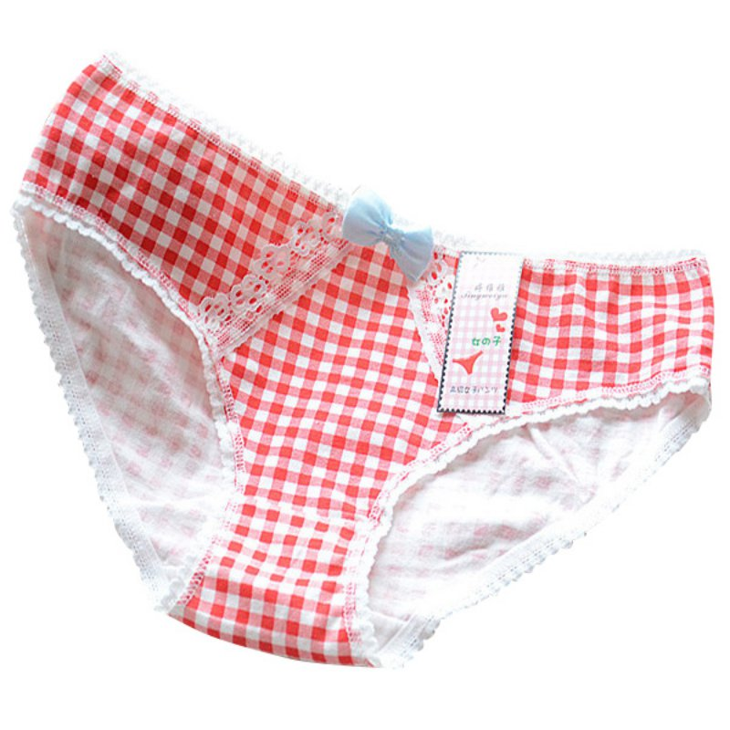 Fashion Women Lace Floral Bowknot Briefs Plaid Cotton Panties Underwear Cozy Underpants
