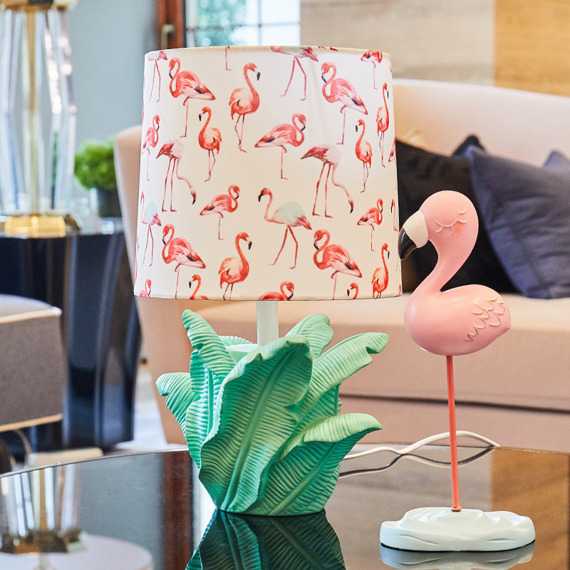 Nordic Modern Creative Rainforest Flamingo E27 Table Lamp For Girls Room Bedroom Living Room Deco Resin Cloth Lamp 41cm 1713 To Help Digest Greasy Food Lights & Lighting