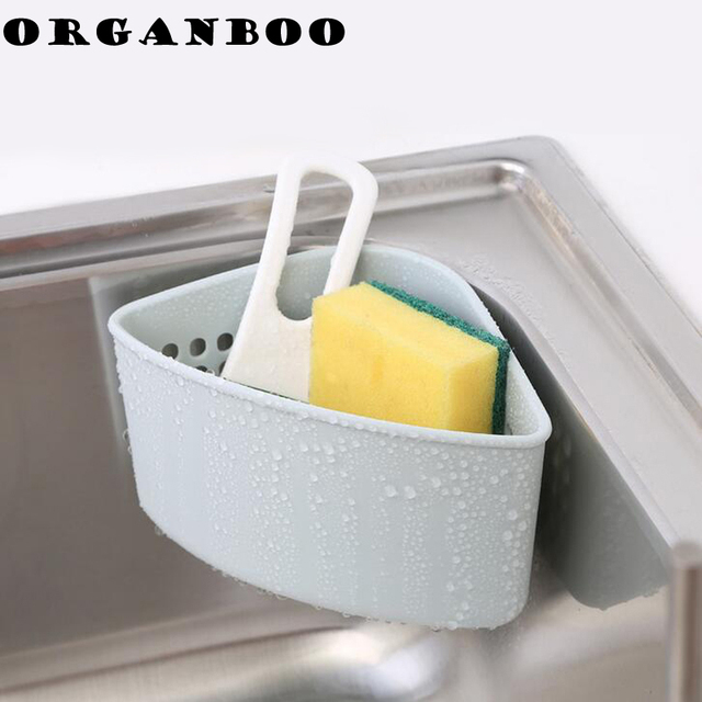 Triangle Shape Water Drain Basket Plastic Sponge Holder Basket Storage Rack  Kitchen Supplies Pool Sucker Cup
