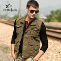 O envio gratuito de nova moda masculina casual man Colete saco colete fotografia colete masculino outono e inverno outerwear jaqueta militar