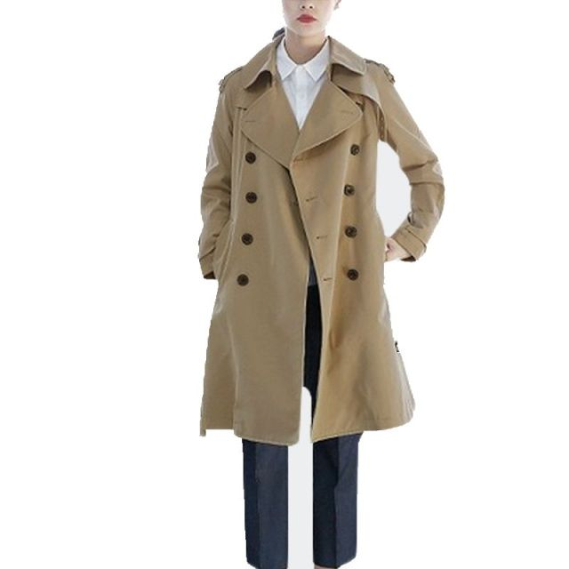 Hot Sales Long Solid Classic Khaki Women's Trench Coat Winter 2017 New Fashion Double Breasted Winter's Coats For Women F690