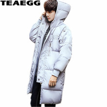 TEAEGG Thickening Men Winter Jackets Manteau Homme Hiver Cotton Padded Gray Hooded Man Warm Winter Jacket Coat Parka Homme AL559