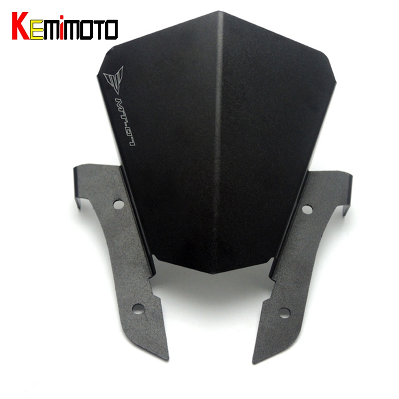 KEMiMOTO FZ07 MT07 FZ-07 Motorcycle Motorbike Windshield Windscreen Aluminum Black For Yamaha MT-07 FZ 07 MT 07 2013-2017 for yamaha mt 07 mt 07 fz07 mt07 2014 2015 2016 accessories coolant recovery tank shielding cover high quality cnc aluminum