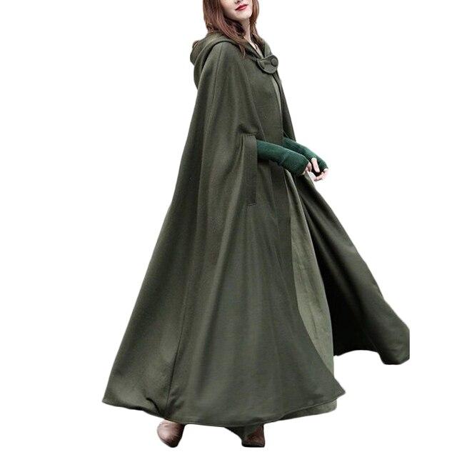 Casaco com capuz medieval feminino, fantasia vintage gótica com capa sobretudo 2020