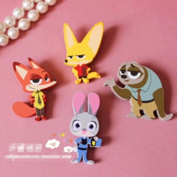 Timlee X098 Free shipping Cute Animal Fox Rabbit Sloth Wood Brooch Pins Safety Pins Fashion Jewelry Wholesale TLW