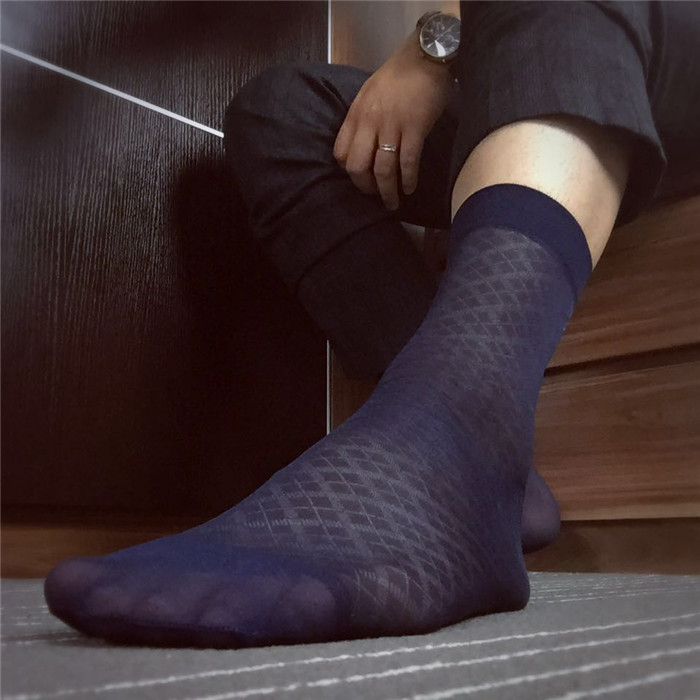 SORRYNAM Stockings Gay Men Silks Socks Male Formal Suit Dress Hose for Leather Shoes Sexy Breathable Mesh Male Socks