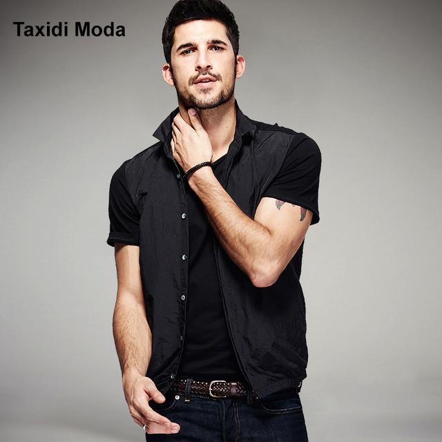Nova moda mens camisas casuais de verão falso duas peças de manga curta marca clothing homem slim fit roupas chemise homme