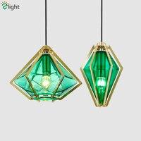 Art Deco Modern Glass Diamond Shape Led Pendant Lamp Green/Amber/Frosted Glass Led Suspend Lamp Bar Dining Room Hanging Lamp