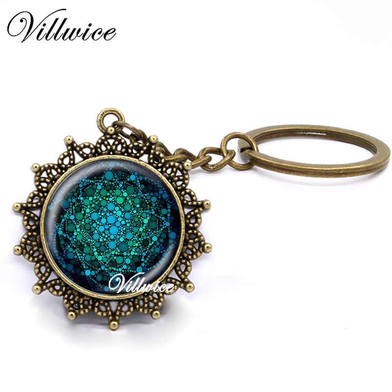 Nova Flor Azul Da Vida Anel Chave Pingente De Vidro Da Arte Mandala Geometria Sagrada Da Corrente Chave Chaveiro artesanal Jóias Para As Mulheres presentes