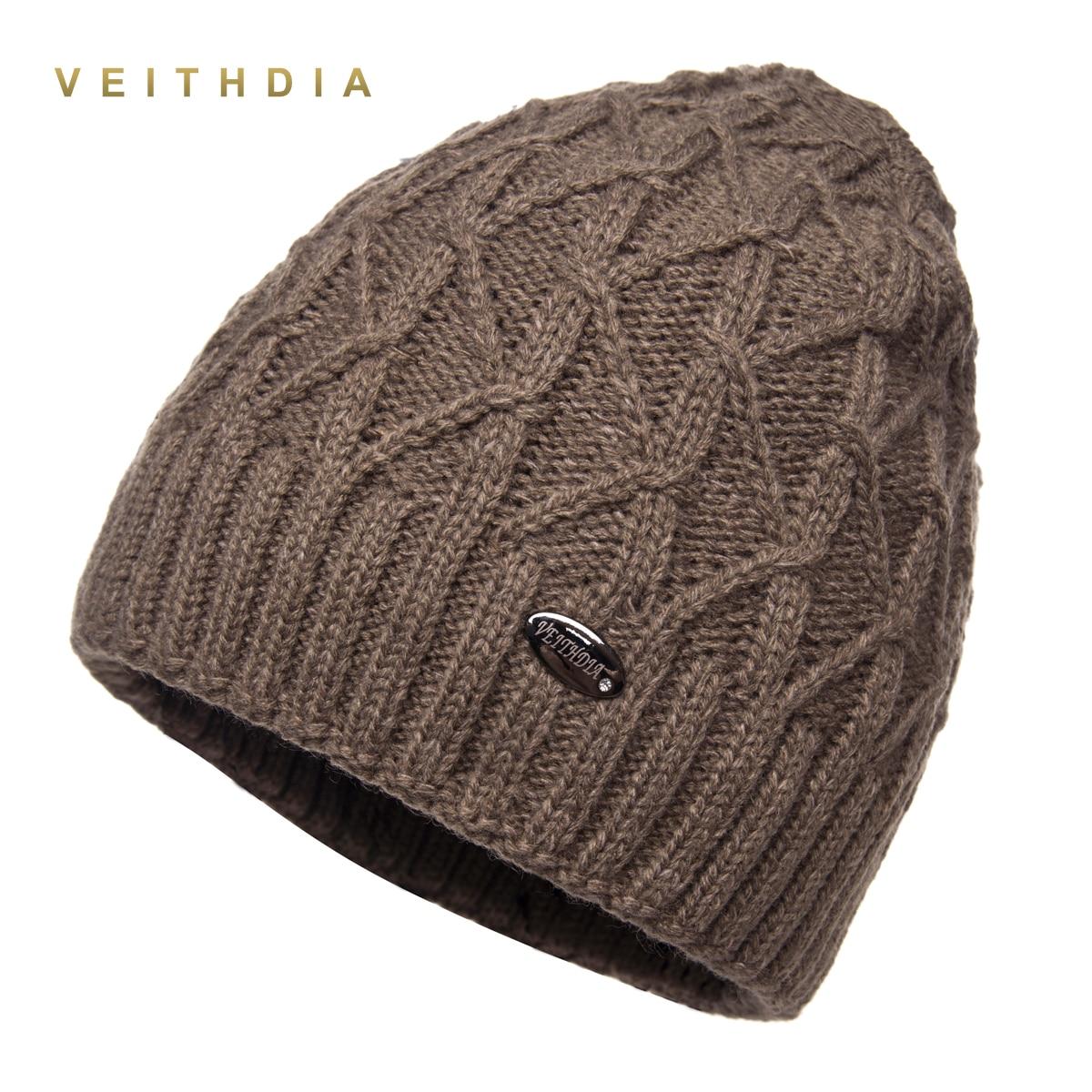 VEITHDIA winter hats for men   skullies   double layer gorro men's knitted wool   beanies   solid Color bonnet plus velvet warm cap man