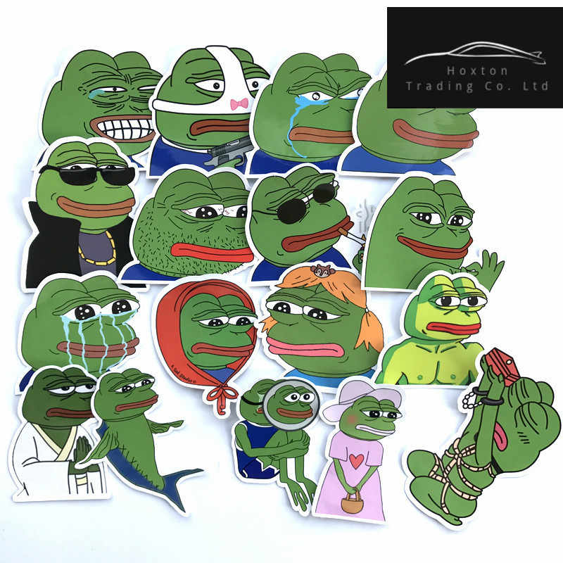 17Pcs/Lot Pepe Sad Frog Funny Sticker For Car Laptop Luggage Skateboard Motorcycle Snowboard Phone Decal Toy waterproof Stickers