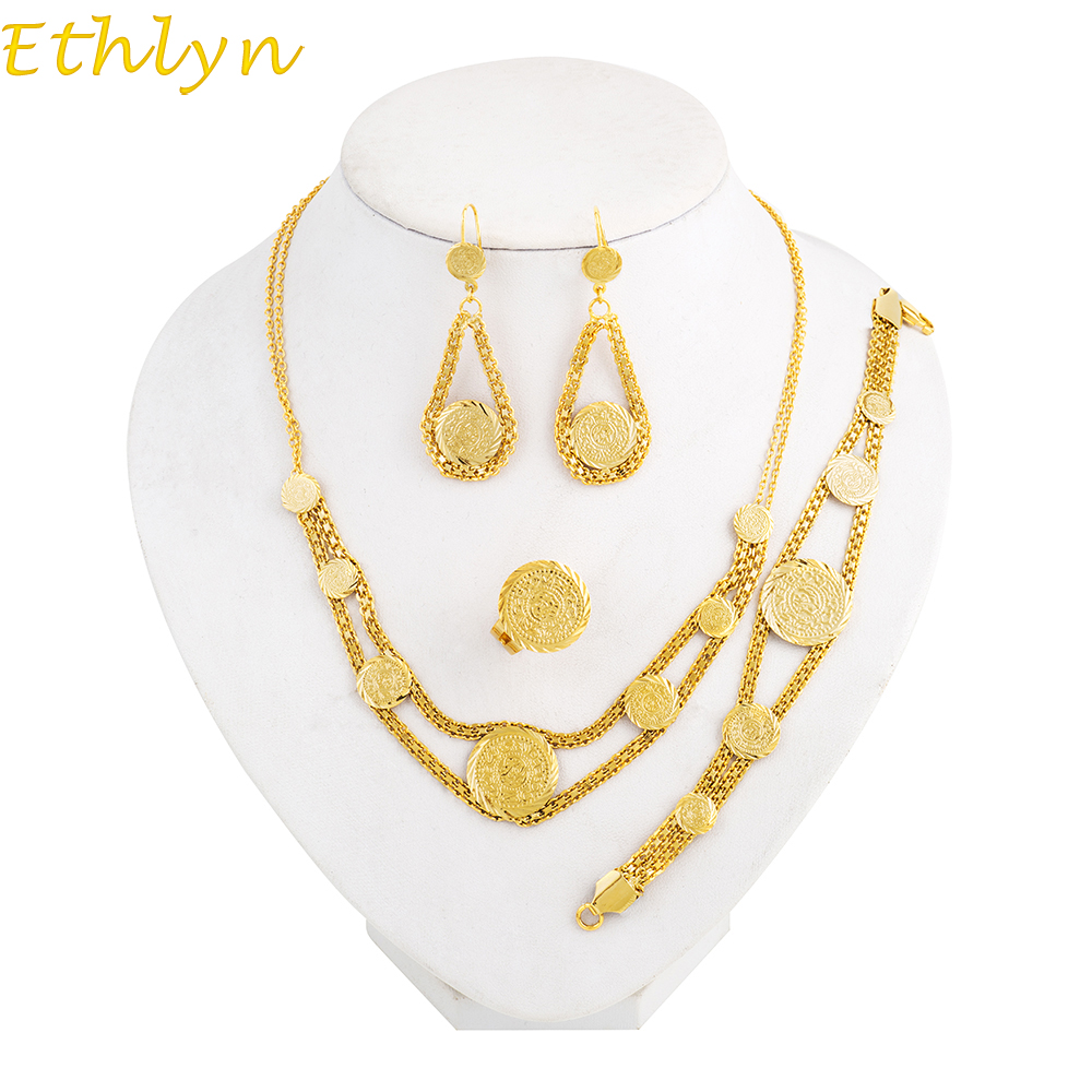Jewelry & Accessories Bridal Jewelry Sets Earnest Ethlyn Coin Necklace Set Gold Color Antique Coin Earrings+bracelet+rings+necklace Middle East Muslims Islamic Women Sets S040 To Enjoy High Reputation In The International Market
