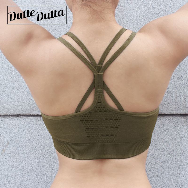 Women's Energy Seamless Sports Bra Workout Army Green Gym Crop Top High Impact Fitness Yoga Bra Backless Strappy Sport Bra