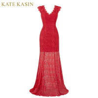 Kate Kasin Red Lace Evening Dresses Long Banquet Prom Dress 2016 Robe De Soiree Cap Sleeve