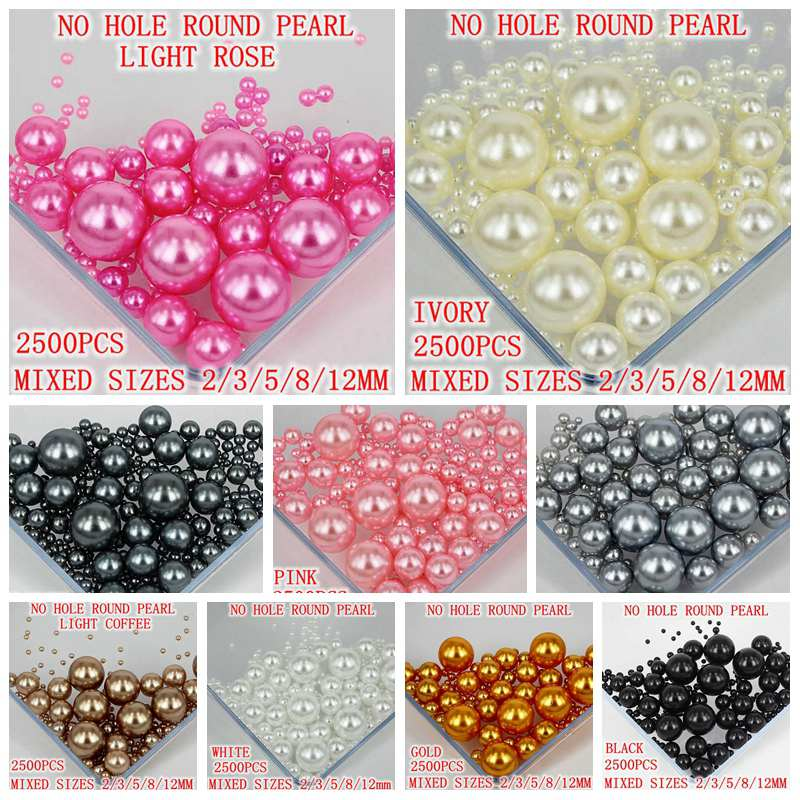 13 Colors Mixed Sizes Pack No Hole Round Beads No Hole Imitation Pearls Crafts Resin Beads DIY Jewelry Making 2500PCS In One Bag