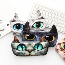 1x Cute Cat Pencil Bag korean stationery large capacity pen bag simple storage cosmetic for girl Gift