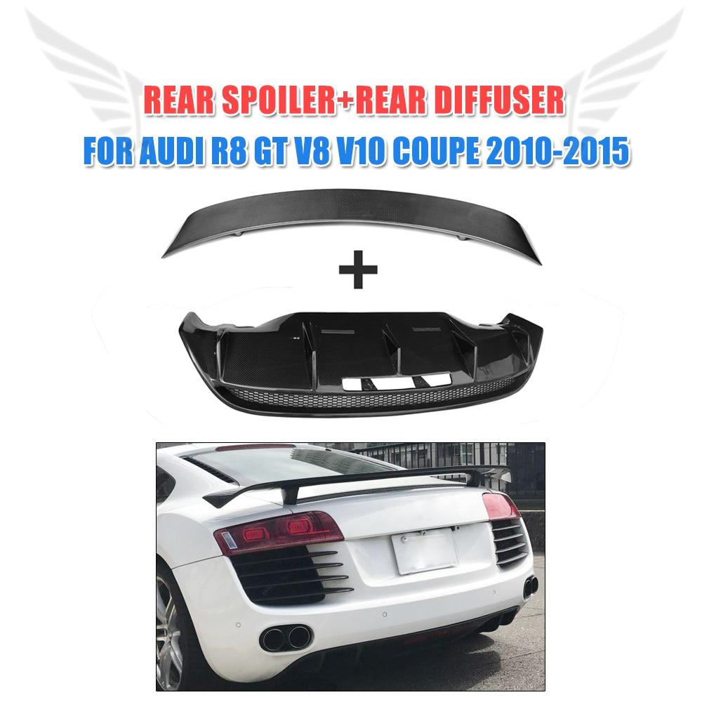 2PCS/Set Carbon fiber Rear Boot Lip Spoiler and Rear Bunper Diffuser for Audi R8 GT V8 V10 2010-2012