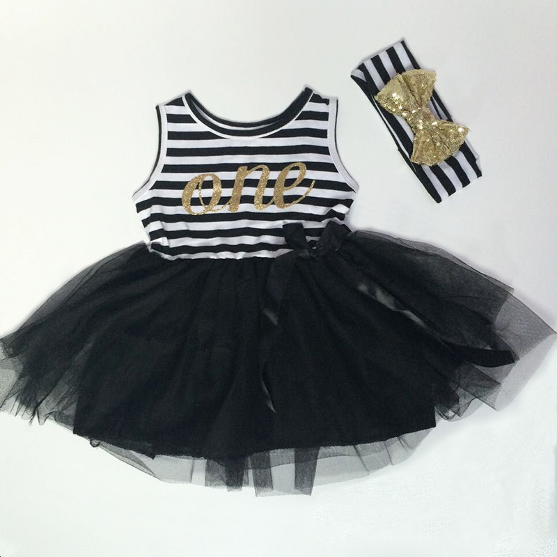 Birthday Baby Clothes Black White Striped Baby Girls First Birthday Dress Gold Letter Bow Girls Tutu Dress Toddler Party Outfit