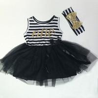 Birthday Baby Clothes Black White Striped Baby Girls First Birthday Dress Gold Letter Bow Girls Tutu