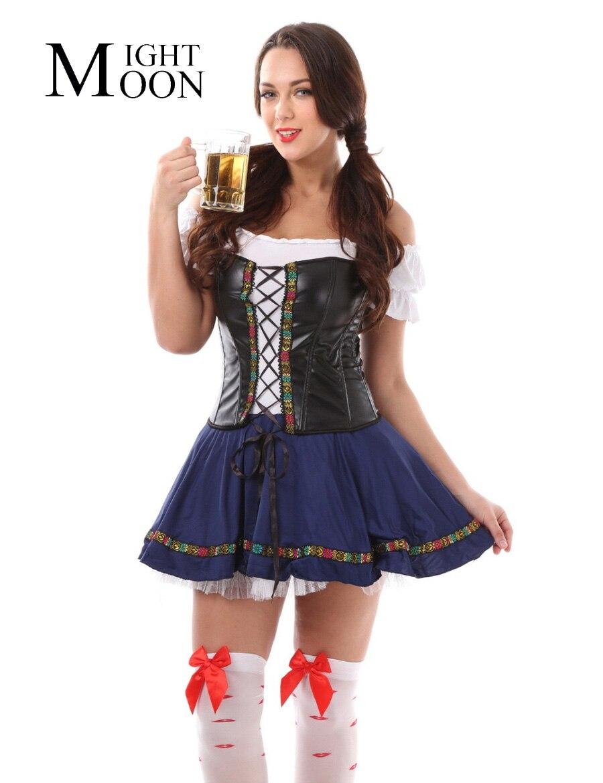 MOONIGHT Sexy Halloween Deutsch Bier Maiden Kostüm Blau Deutschland Bier Mädchen Oktoberfest Kostüm Größe M XL