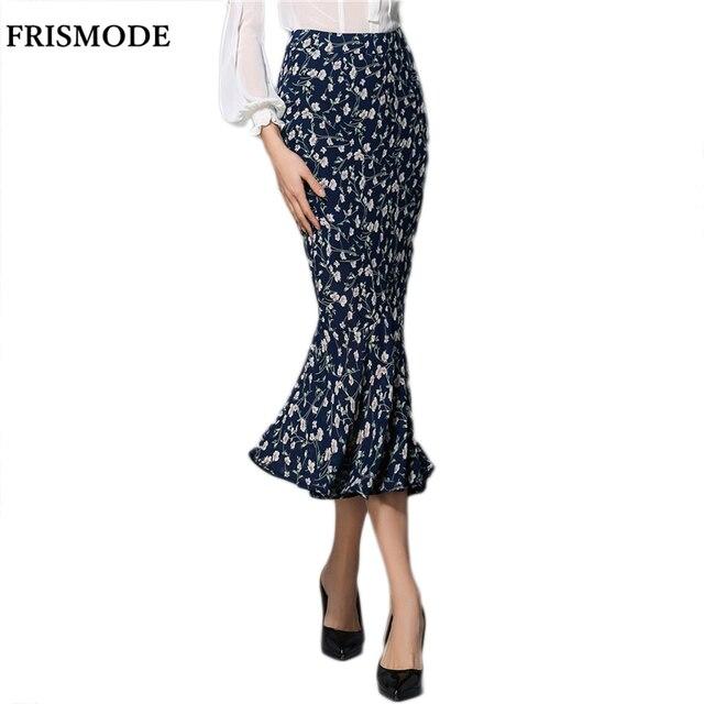 299175687d FRISMODE Fashion Design Mermaid maxi Skirt 2018 New Spring Summer jupe  longue Floral Print Bodycon Sexy saias Women Long Skirt