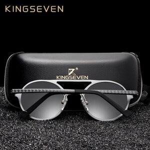 Image 2 - KINGSEVEN aluminium męskie okrągłe okulary spolaryzowane mężczyźni Punk Vintage akcesoria do okularów okulary jazdy Retro okulary przeciwsłoneczne