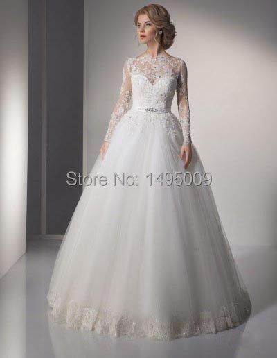 Custom Size Bride Ball Gown Dress White Tulle Full Skirt Sheer Lace ...