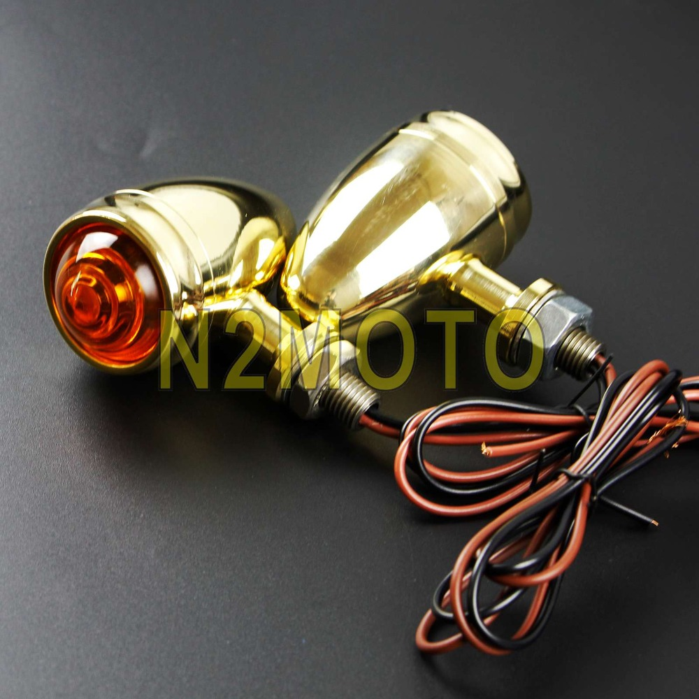 2x Metal Turn Signal Lights Indicator Blinker Lamp Fits Retro Chopper Motorcycle