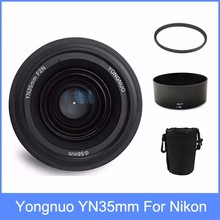 Yongnuo yn35 yn35mm f2 lente grande-angular grande abertura fixa foco automático lente + 58mm saco de filtro UV + lente + Lens Hood Para nikon