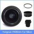 Yongnuo yn35 yn35mm f2 lente de gran angular de gran apertura fija de enfoque automático Lente + Parasol + lente + 58mm filtro UV Para nikon