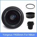 Yongnuo yn35 yn35mm f2 lente grande-angular grande abertura fixa foco automático Lens + Lente + lens bag + 58mm filtro UV Para nikon